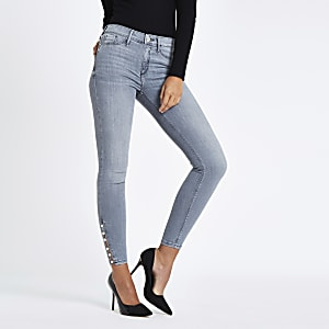 Grey Molly pearl hem mid rise jeggings