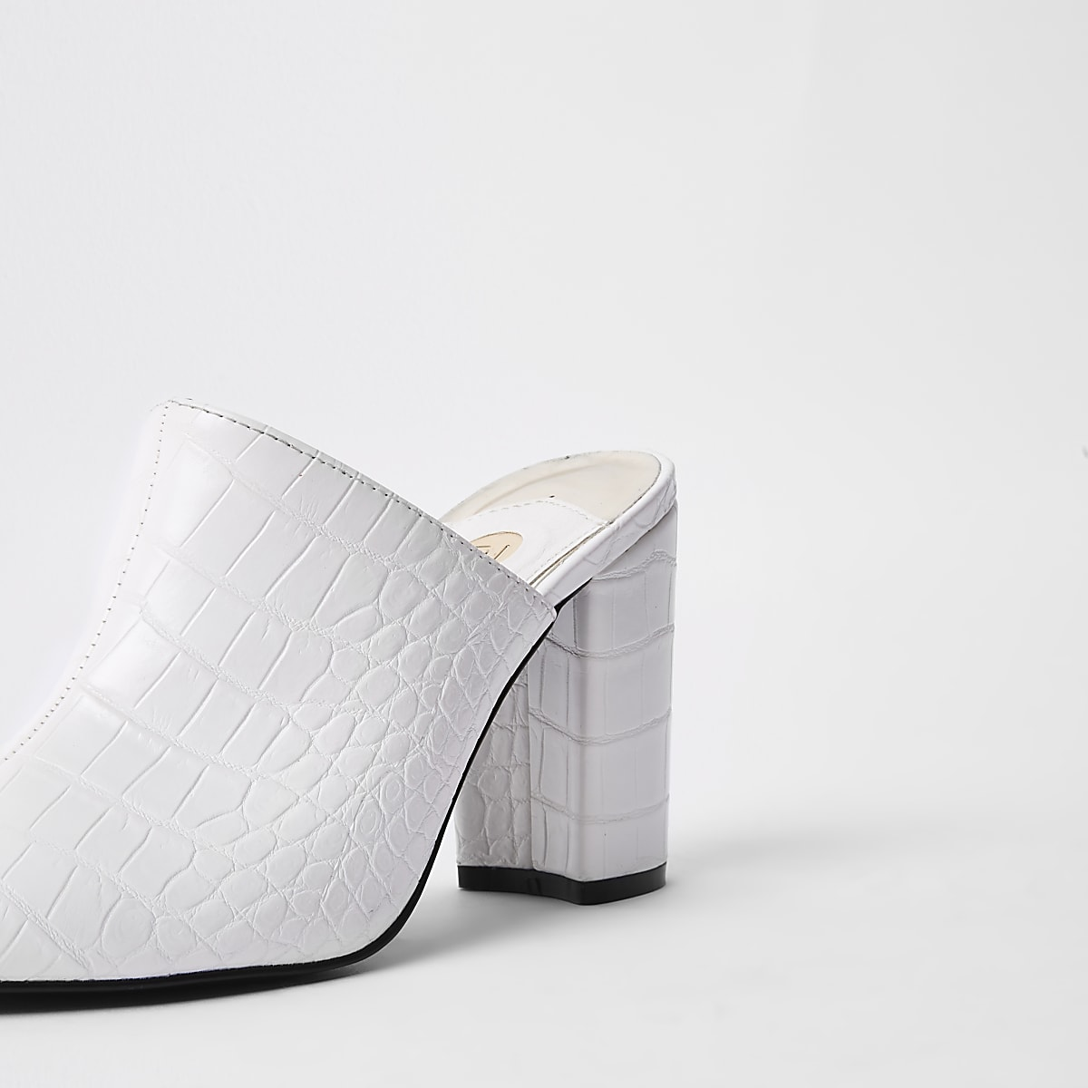 23054d25ae7873 White croc embossed block heel mule sandals - Shoes - Shoes   Boots ...