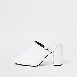 White croc embossed block heel mule sandals