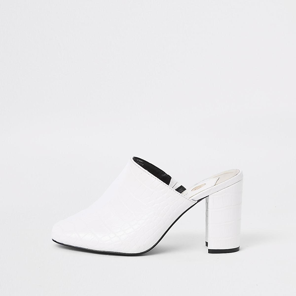 White croc embossed block heel mule sandals