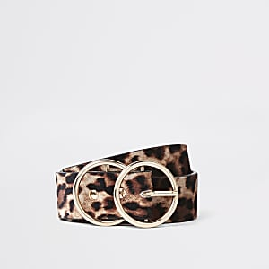 Beige leopard print double ring belt