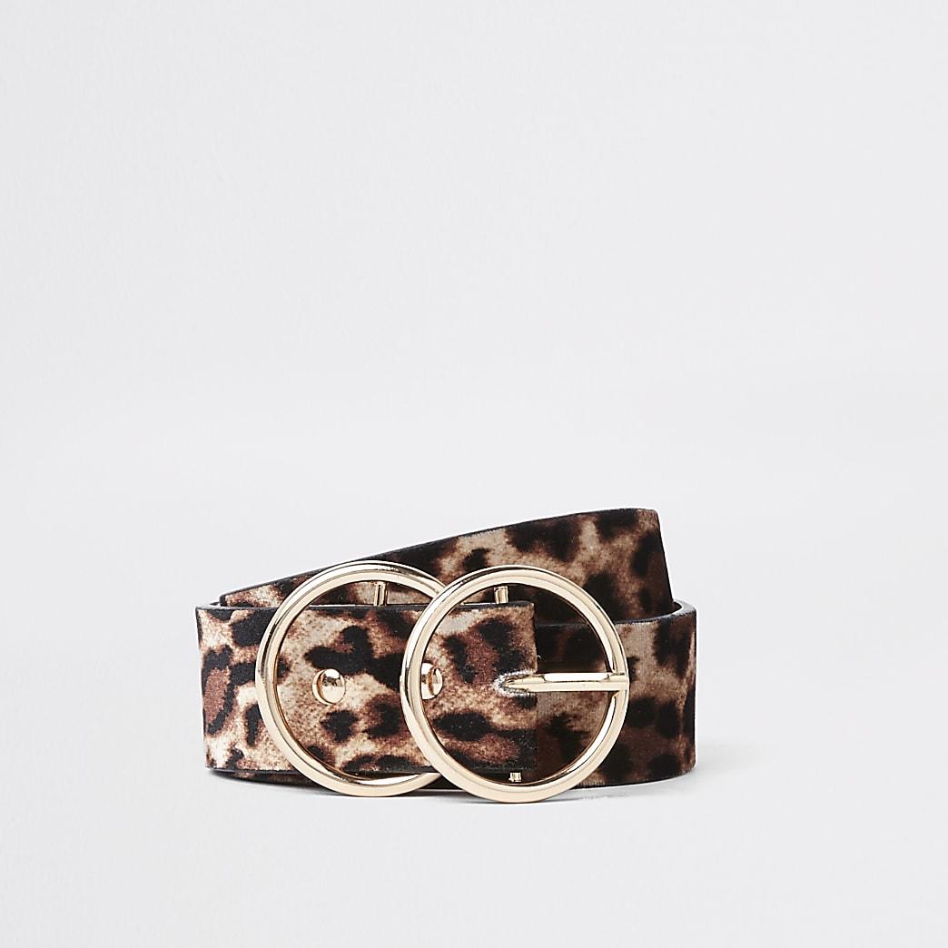 Beige leopard print double ring belt