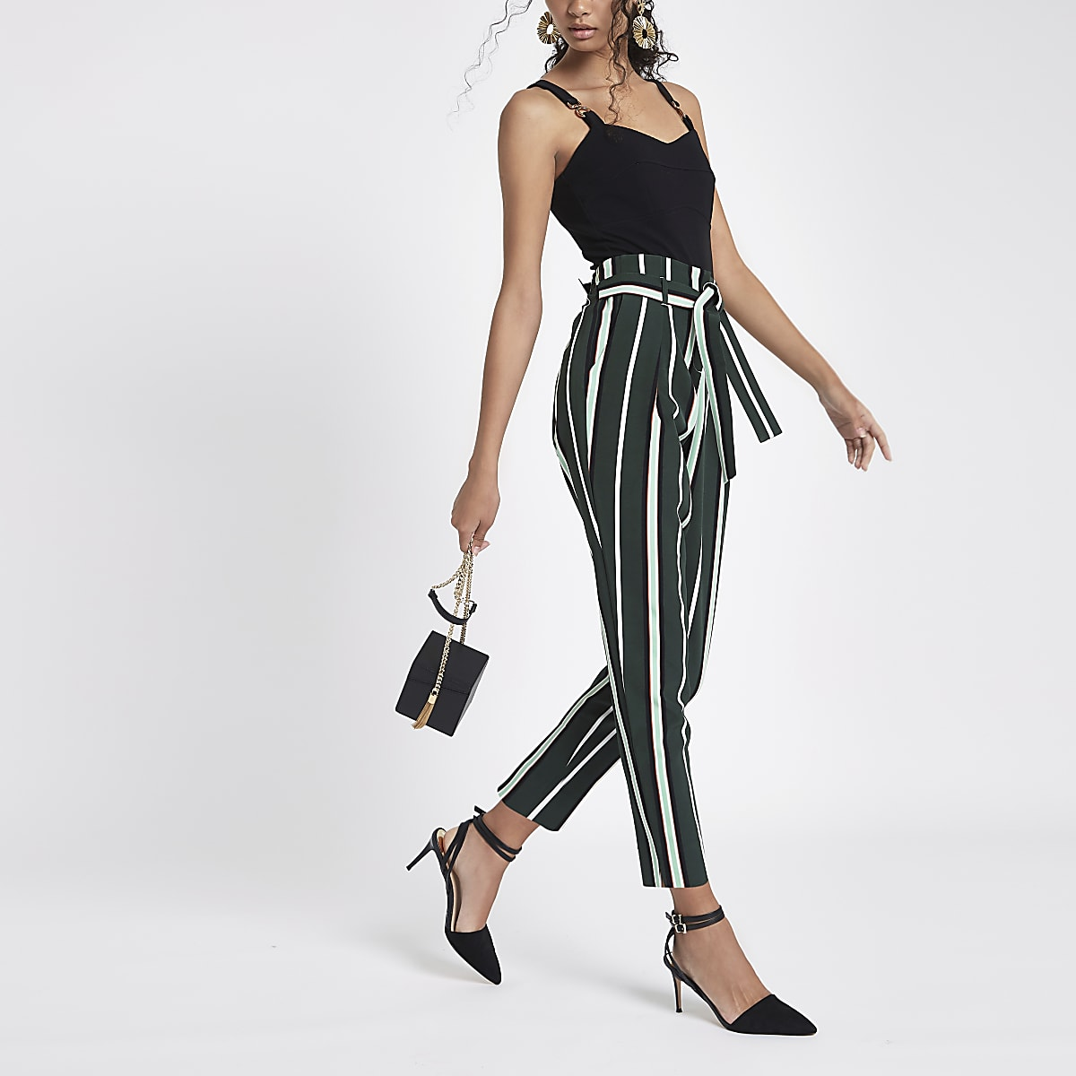 Green stripe tie waist tapered leg trousers