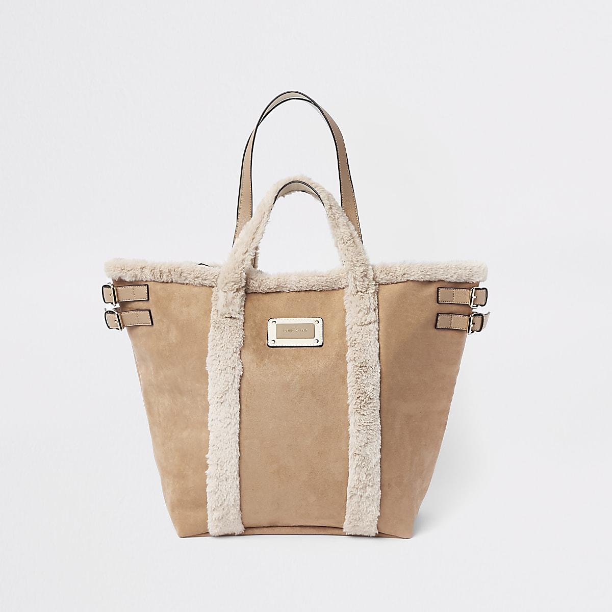 Beige Shopper-Tasche aus Wildleder