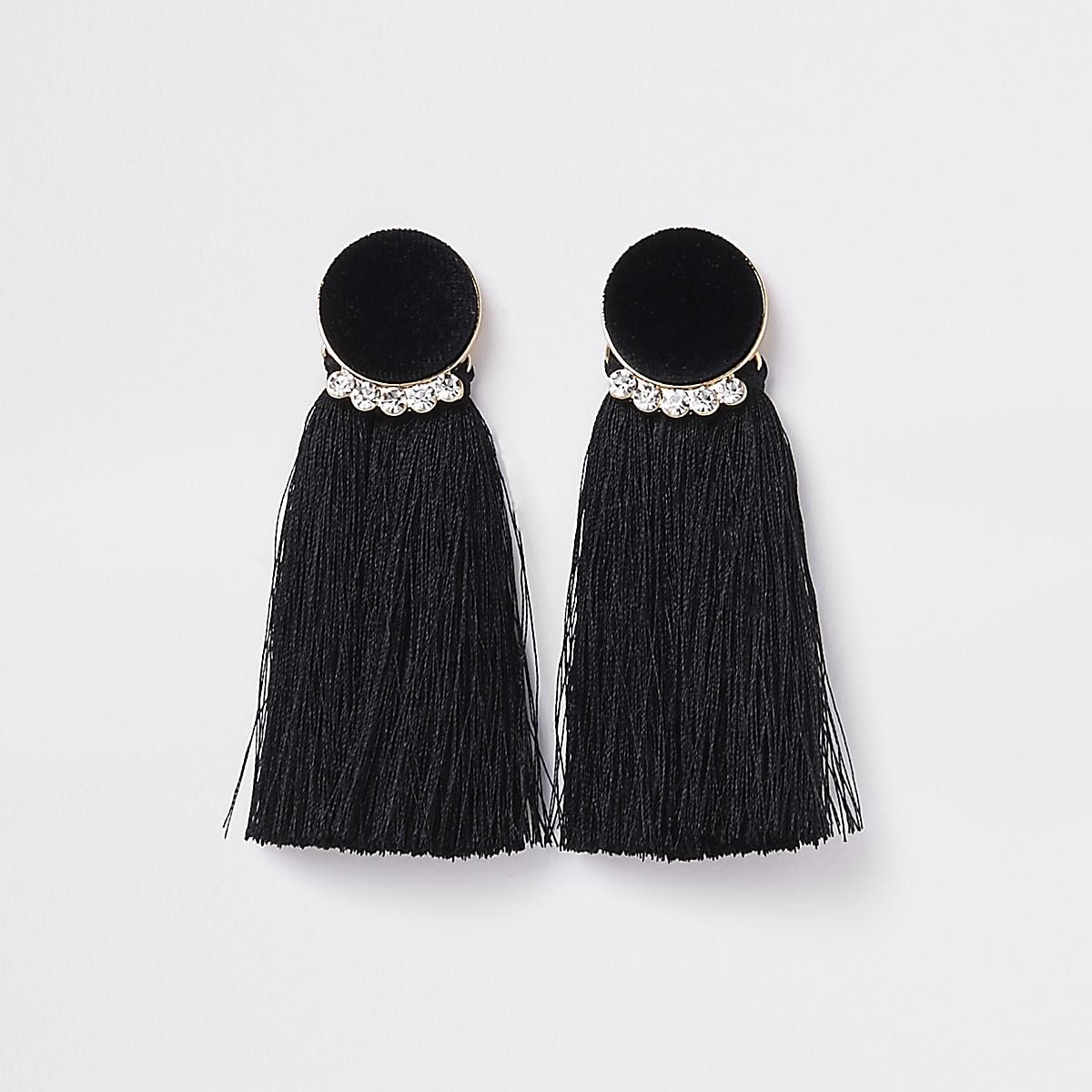 Gold tone black velvet circle tassel earrings
