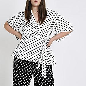 Plus white polka dot kimono sleeve top