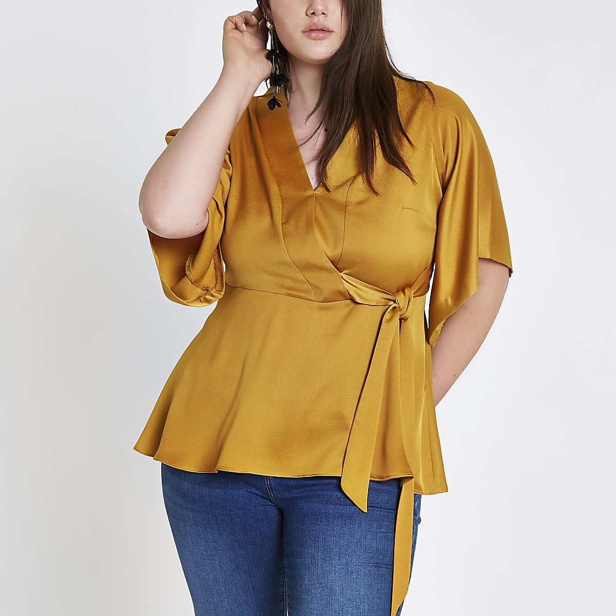 Plus yellow kimono sleeve tie side wrap top