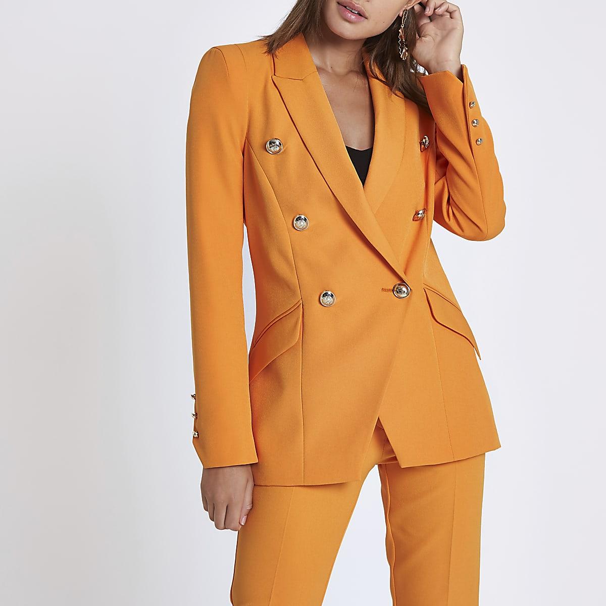 Orange double breasted tux jacket