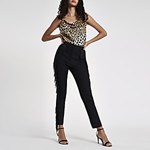 Black fringed skinny fit pants