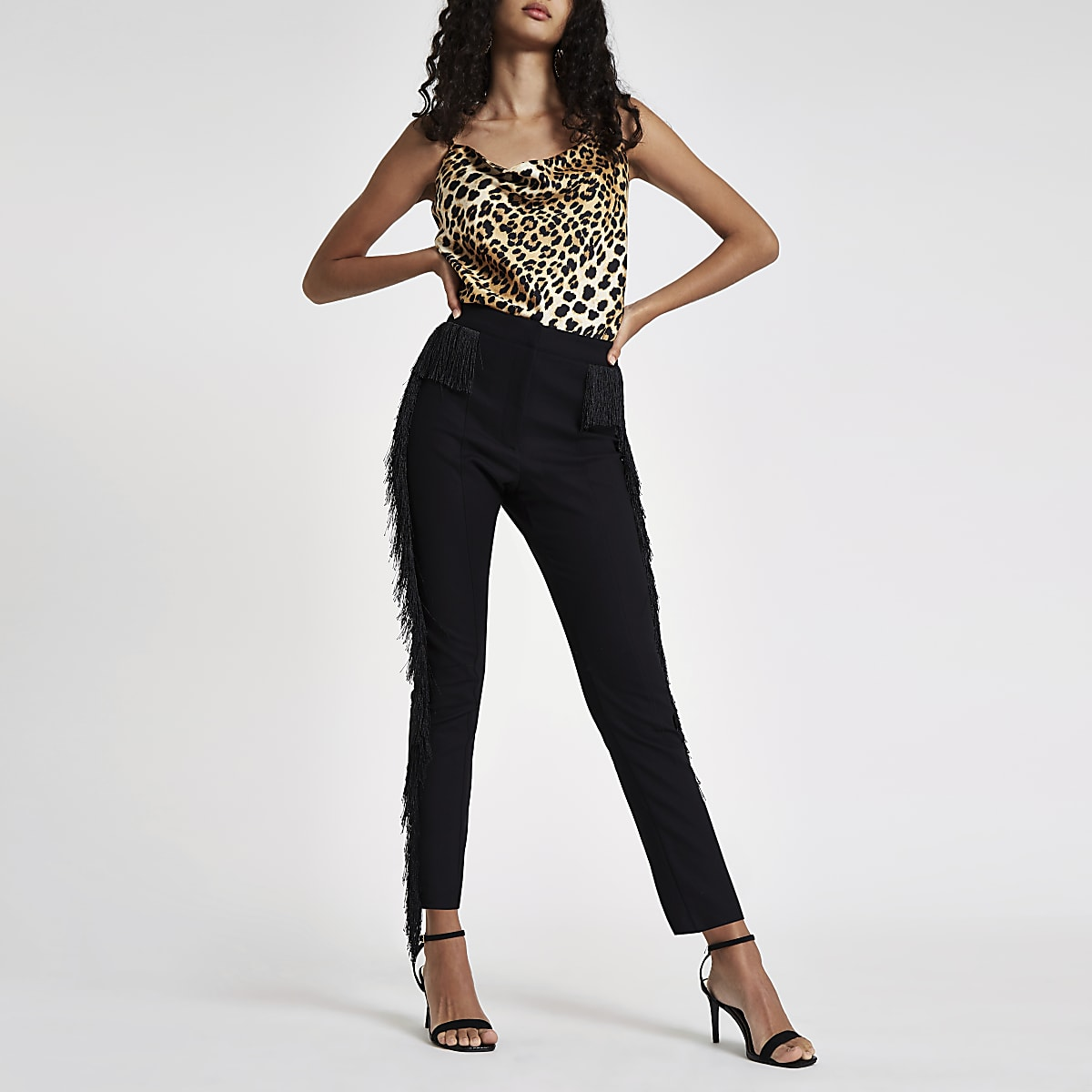Black fringed skinny fit trousers