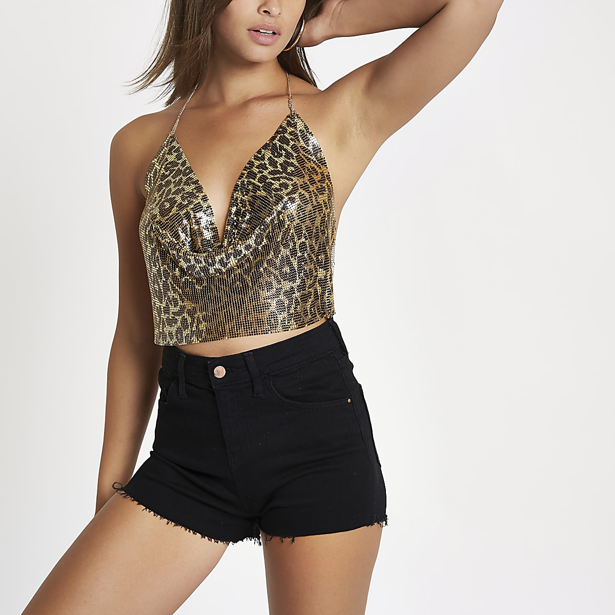 Gold tone leopard print chainmail harness top