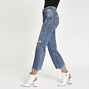 Denim ripped crop flared jeans