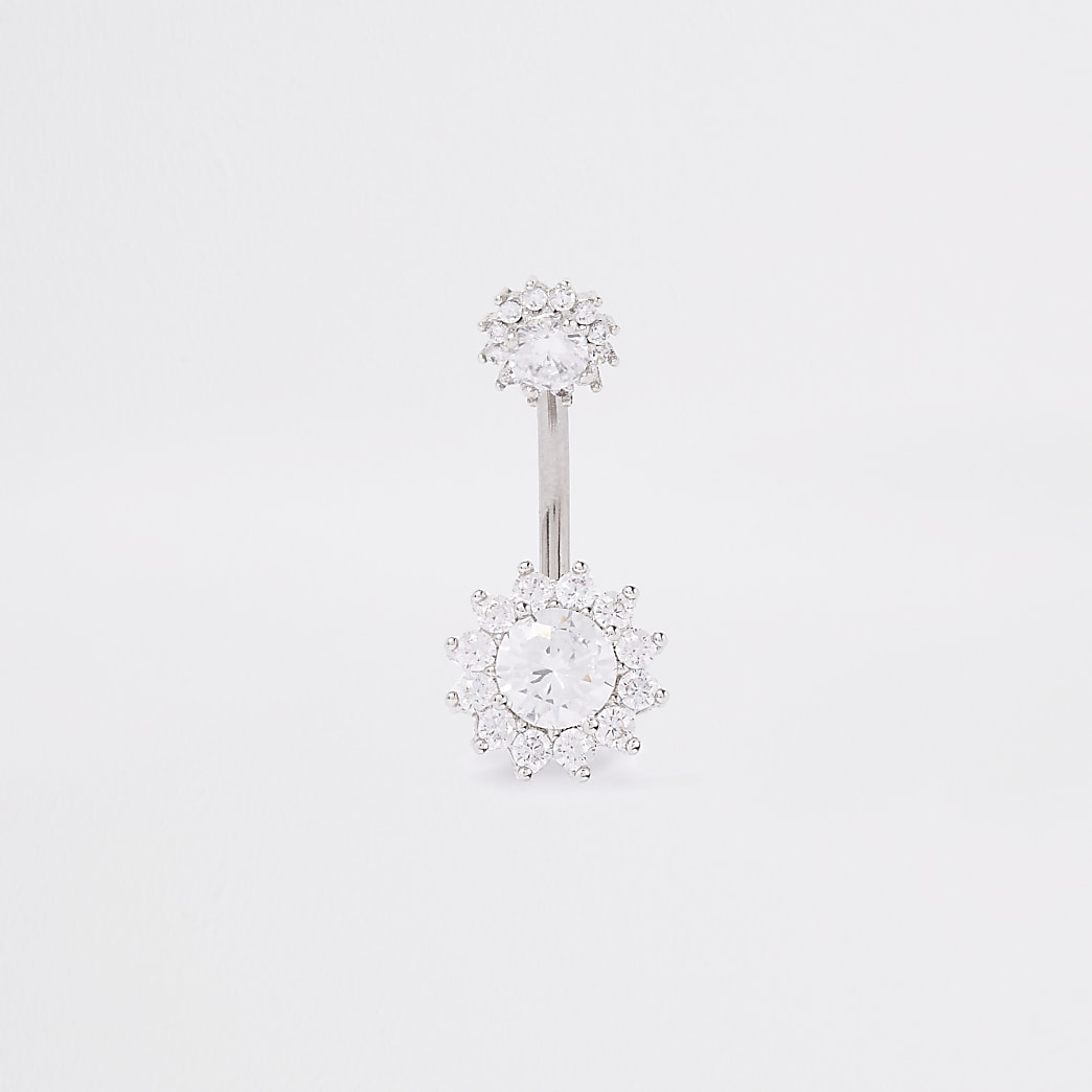 White colour silver cubic zirconia belly bar