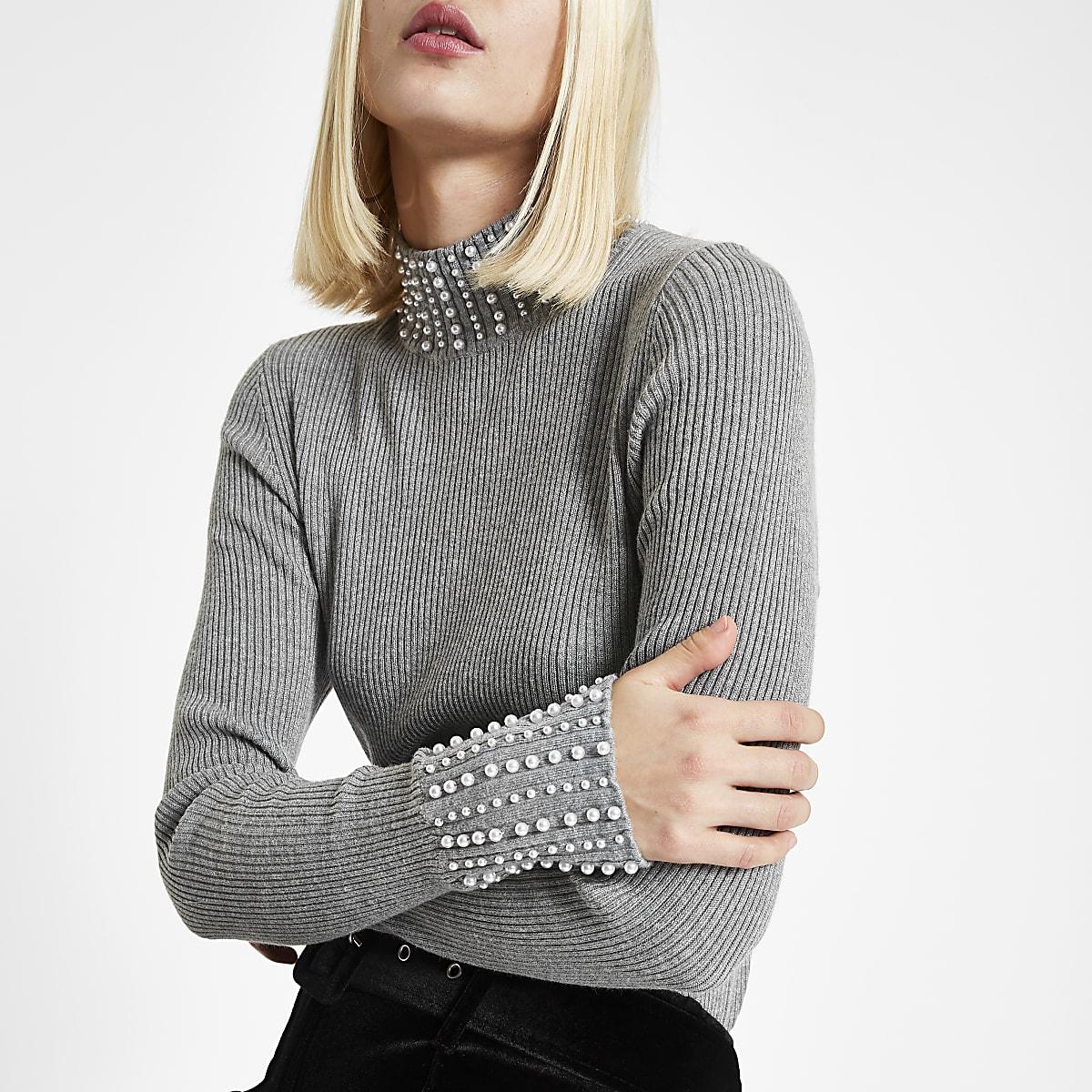 41af0ccf1e7 Grey pearl embellished turtle neck jumper - Knit Tops - Knitwear - women