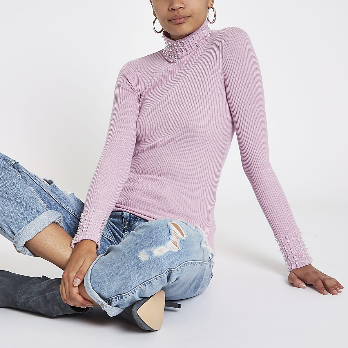 Pink pearl turtle neck knit sweater