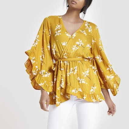 Yellow floral tie front wrap top