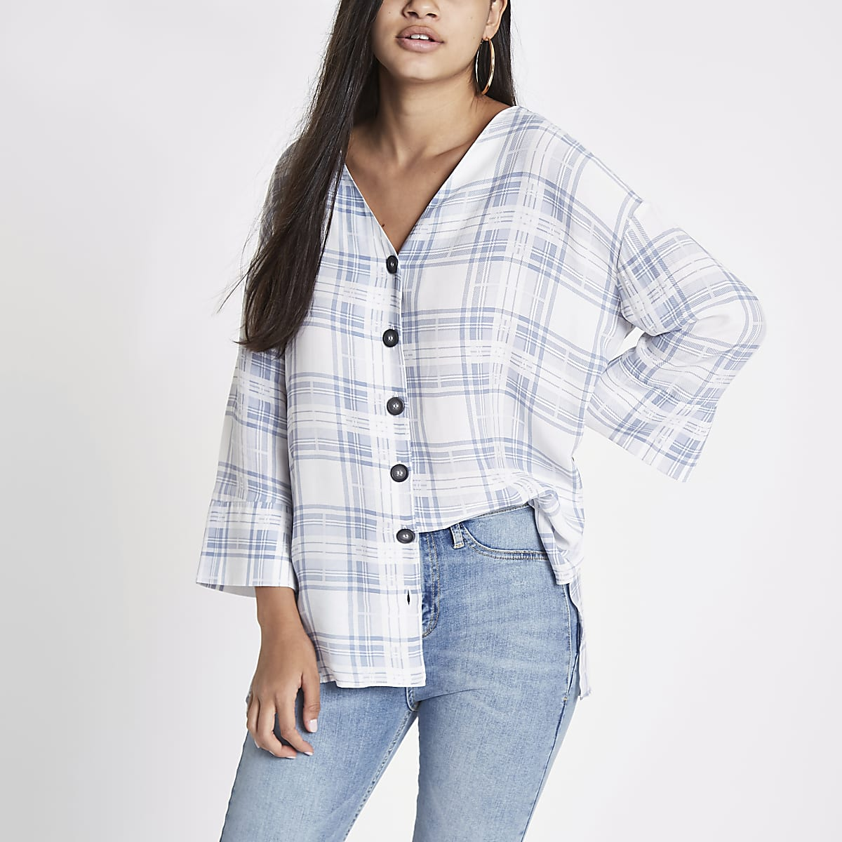 Blue check button front bar back blouse