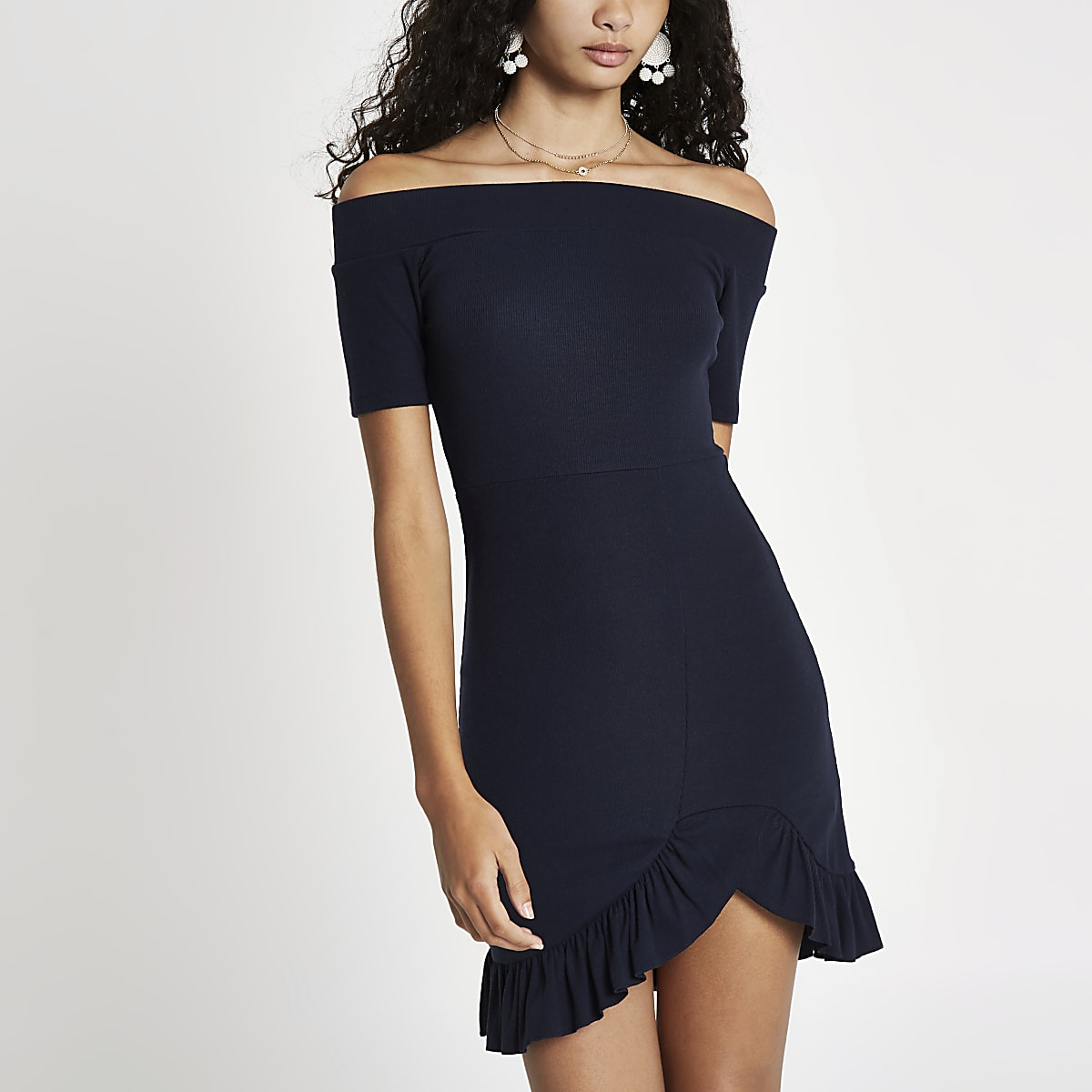 Navy bardot frill hem mini dress