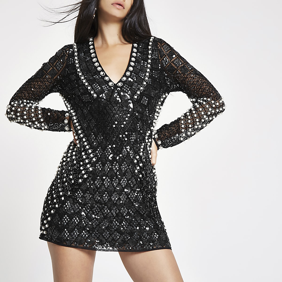 RI 30 black embellished bodycon mini dress