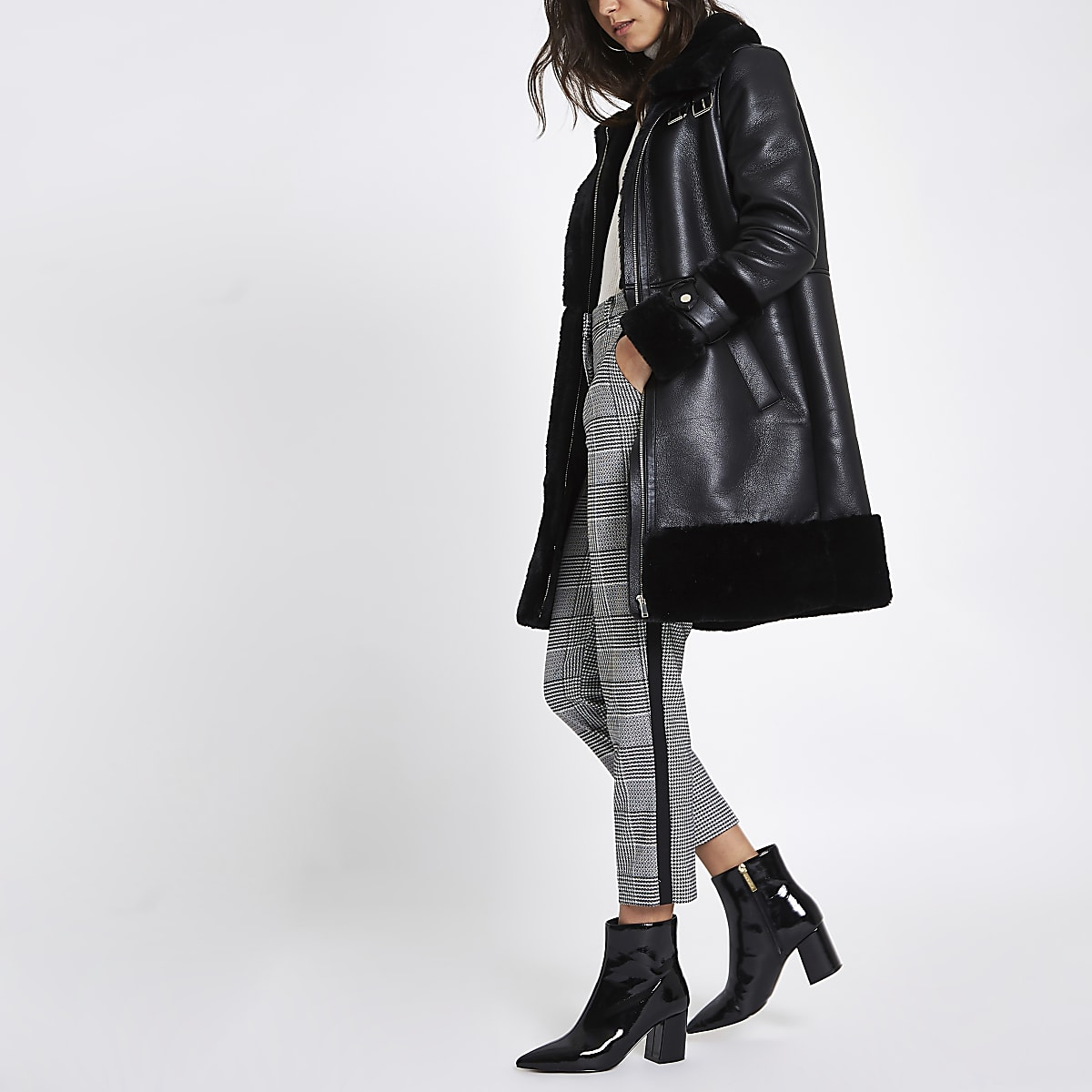 Black faux leather oversized aviator jacket