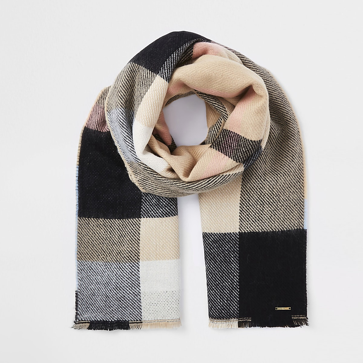 Beige check print scarf