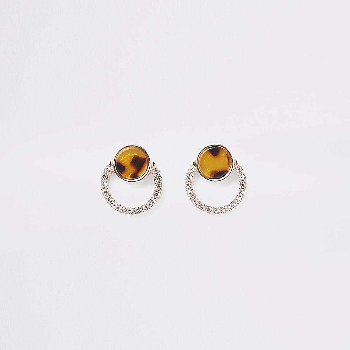 Gold colour tortoise diamante stud earring