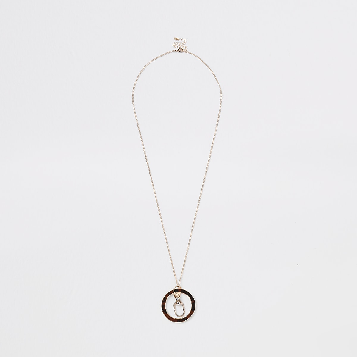 Gold colour tortoise shell circle necklace