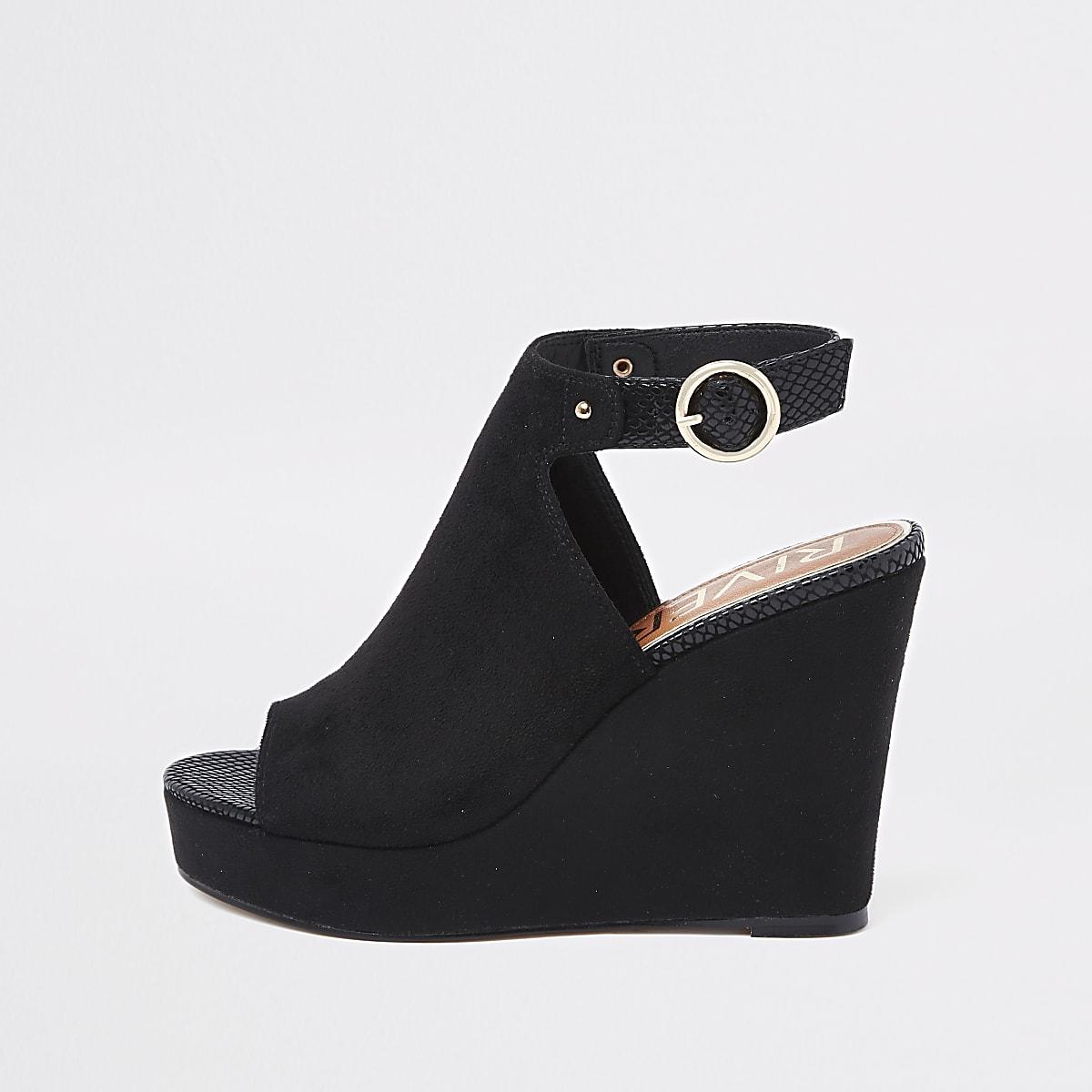dd1472b329ac Black faux suede wedges - Sandals - Shoes   Boots - women