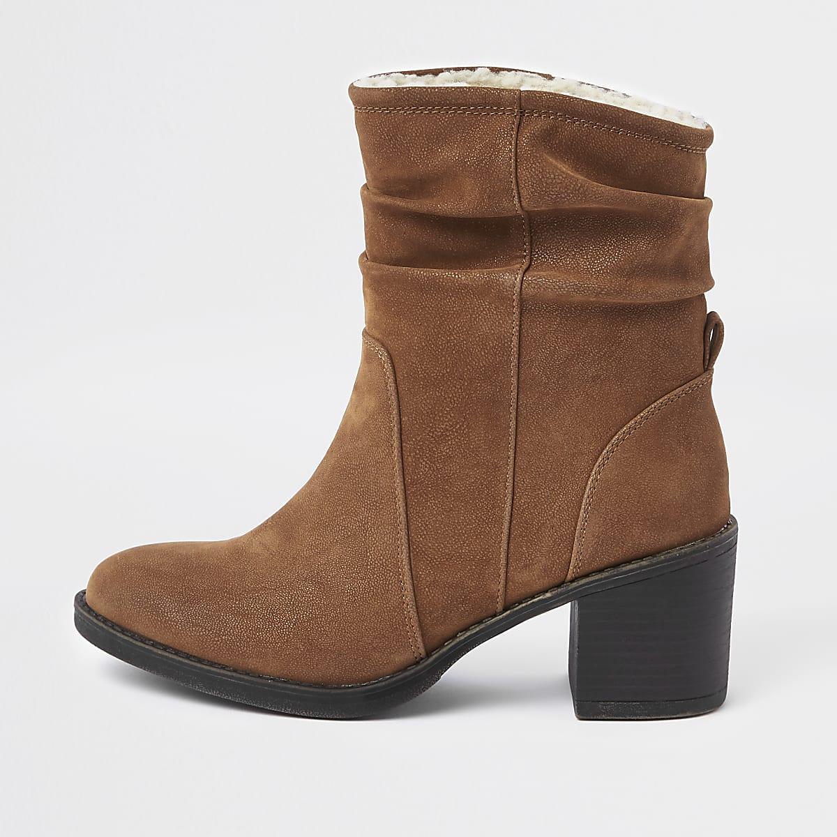 Light brown slouch block heel boots