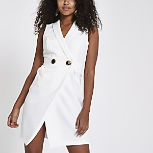 White bodycon wrap tux mini dress