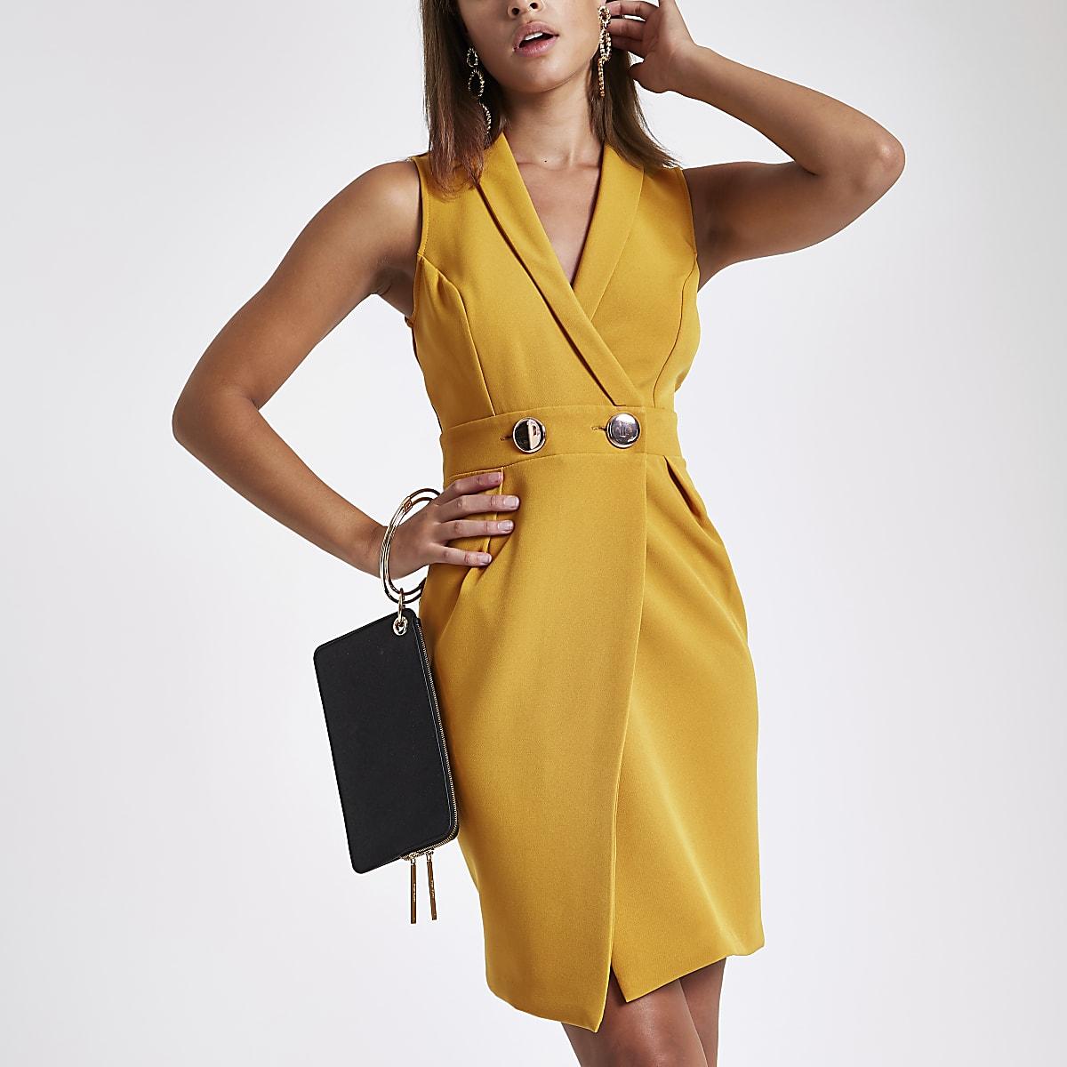 Dark yellow bodycon wrap tux mini dress