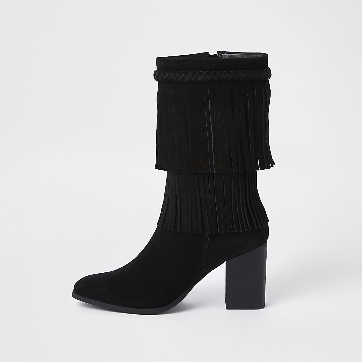 Zwarte suède laarzen met franje en blokhak