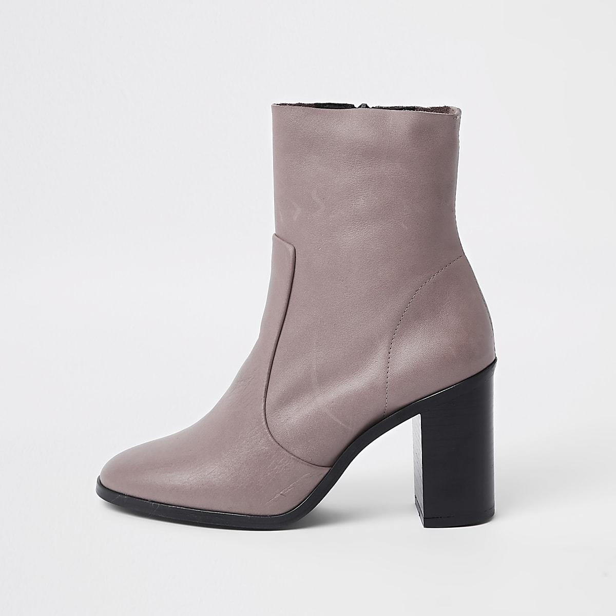 Beige leather sock heel ankle boots