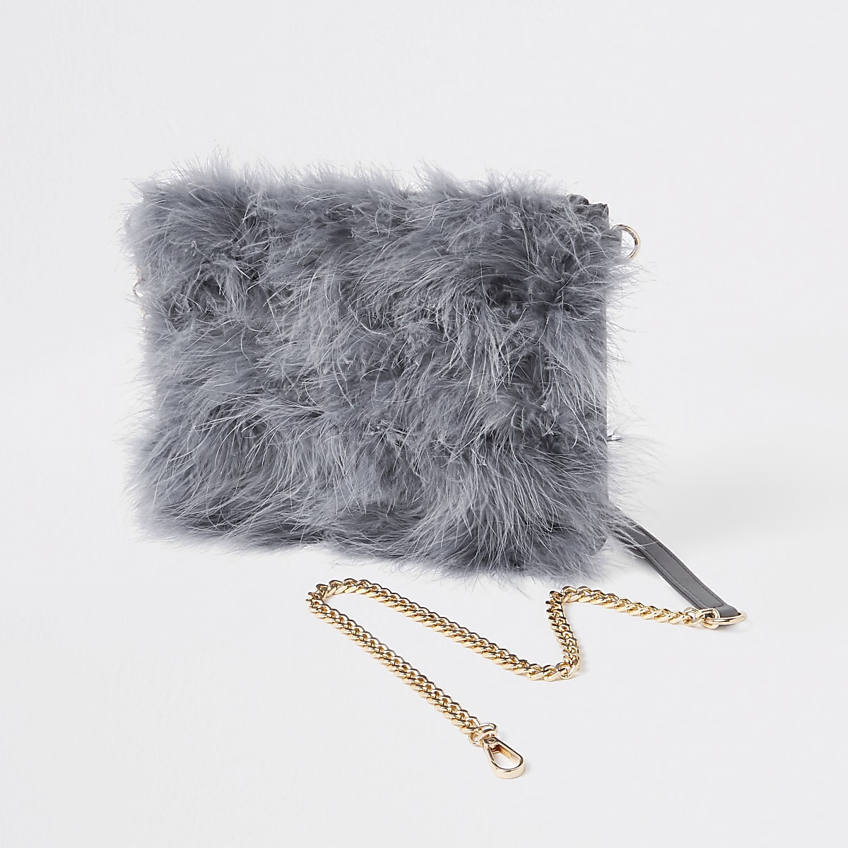 Grey marabou faux fur cross body pouch bag