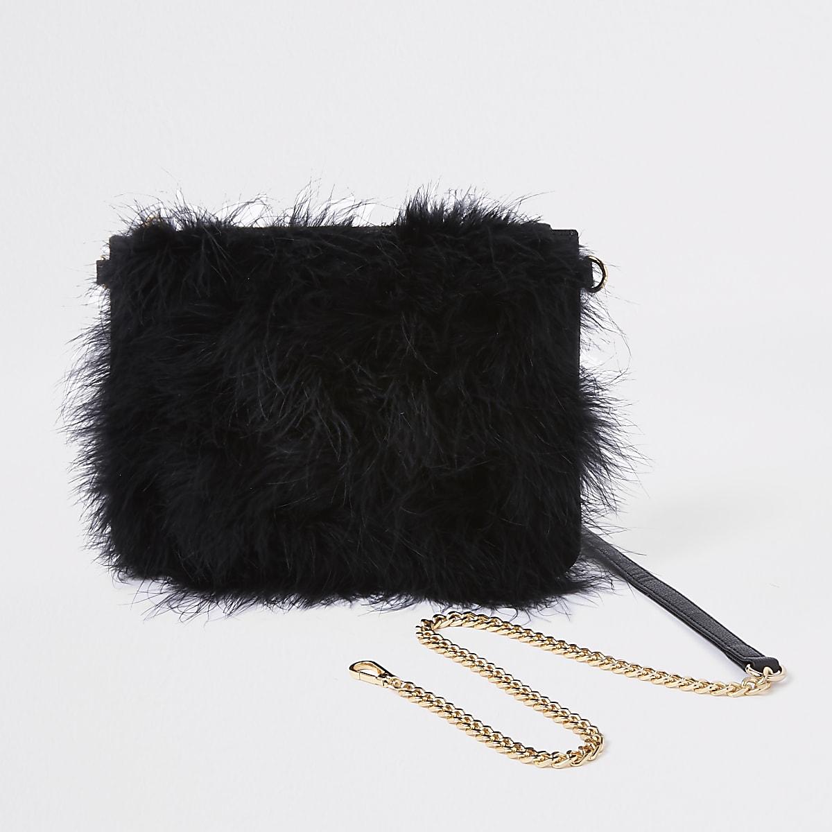 Black marabou feather cross body pouch bag