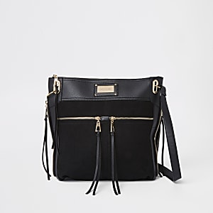 Black double pocket messenger bag