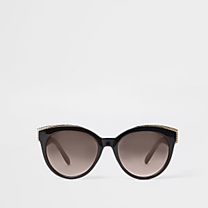3611eccff85 Black gold tone trim cat eye sunglasses