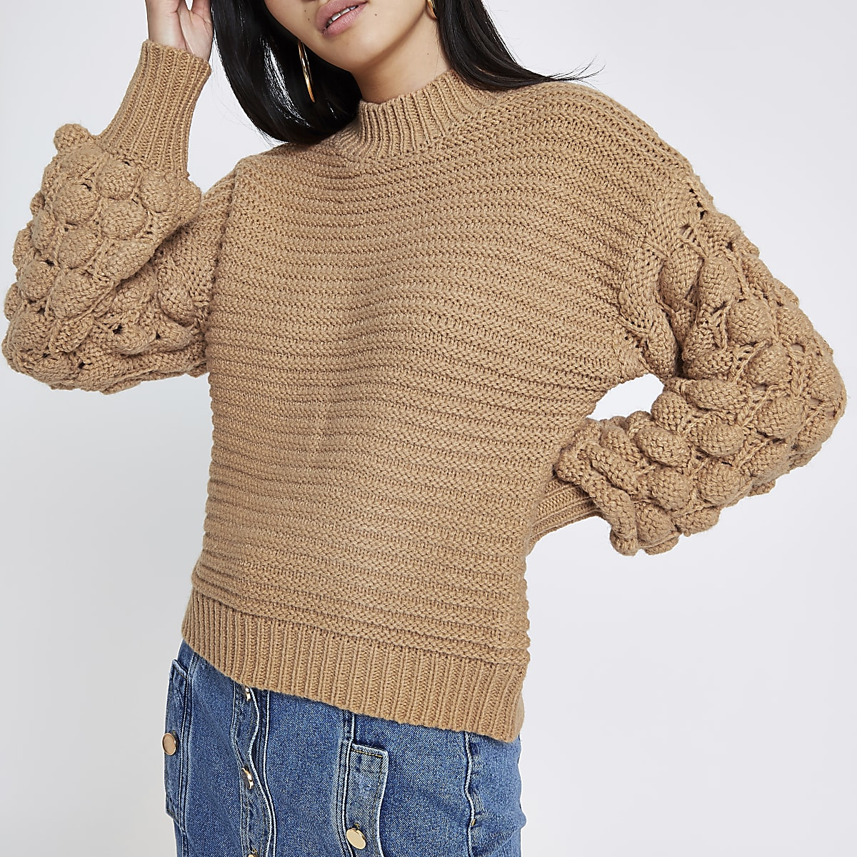 Brown knit bobble sleeve jumper