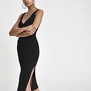 Black metallic stitch knit midi dress