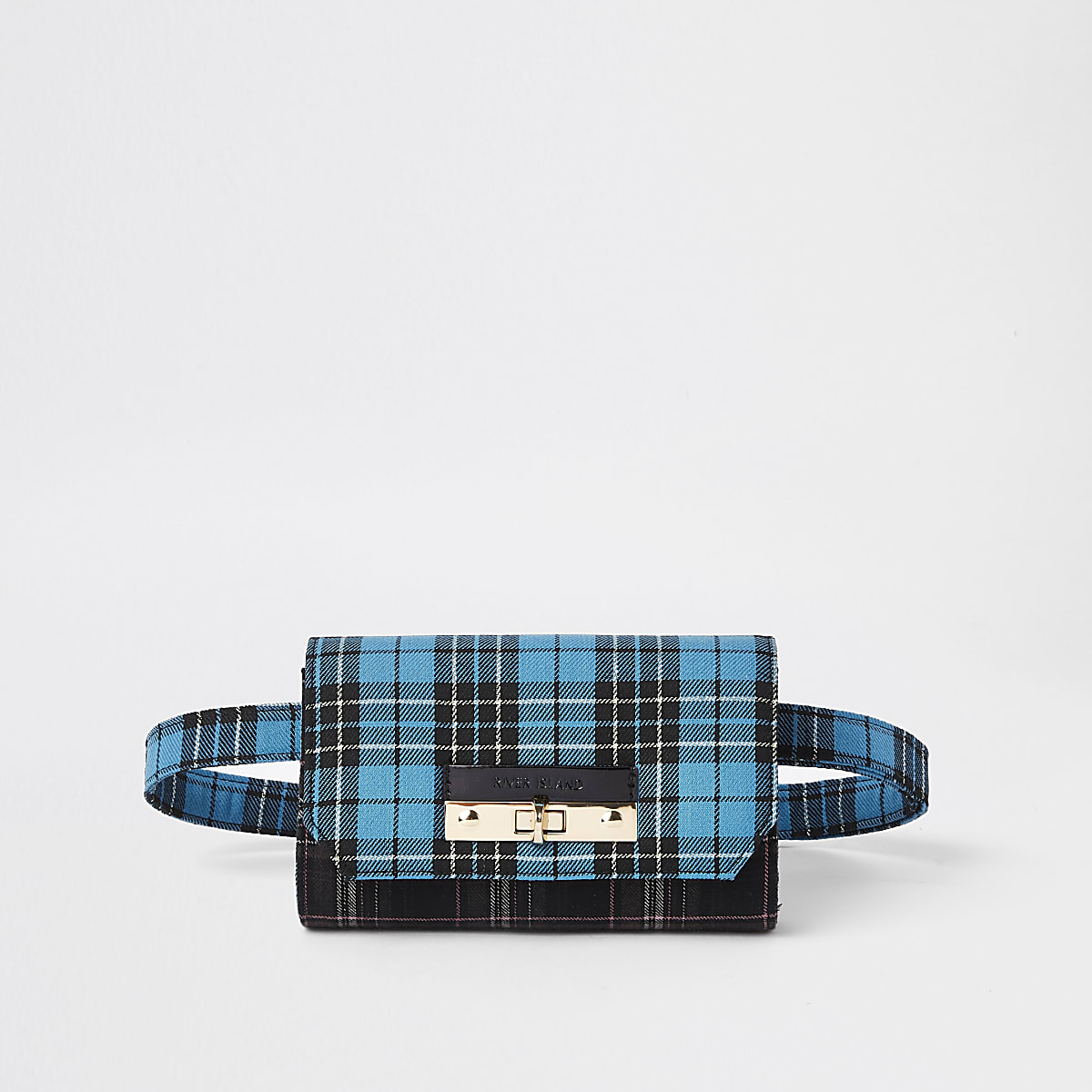 Blue check lock front belted bum bag