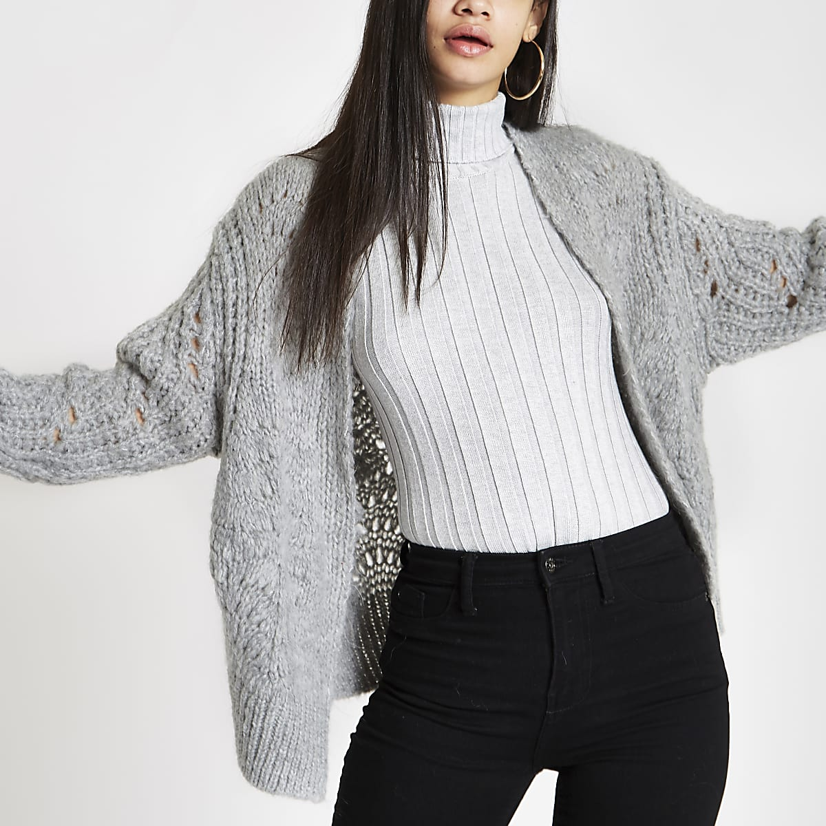 9fb205466b25 Grey knitted cardigan - Cardigans - Knitwear - women