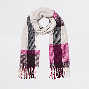 Beige en roze geruite sjaal