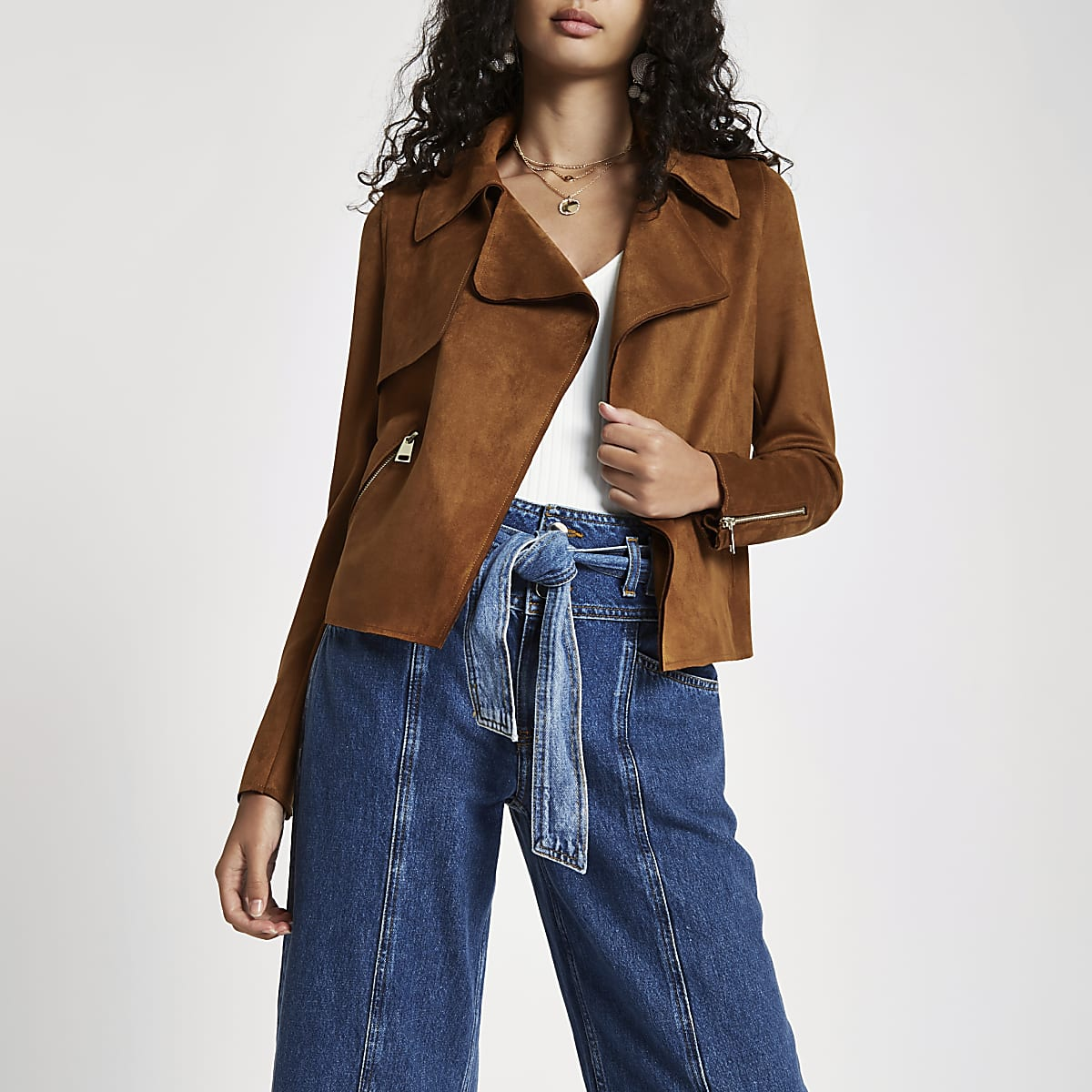 Brown faux suede cropped trench jacket