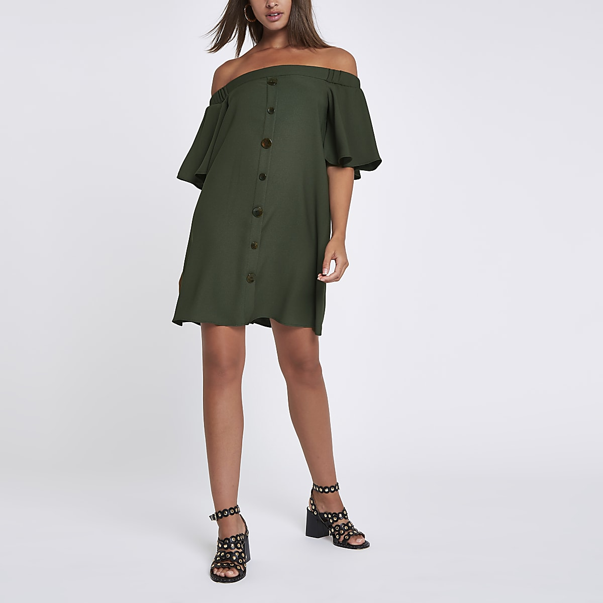 Khaki button front bardot swing dress