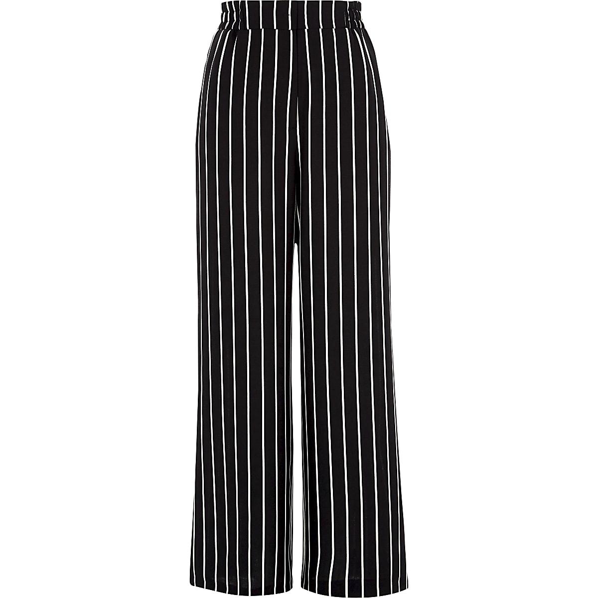 Black stripe wide leg trousers