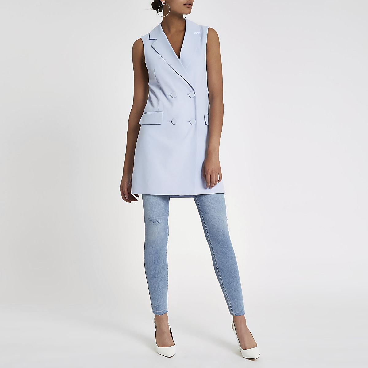 Blue double breasted sleeveless jacket