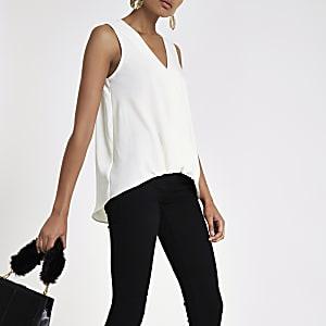 8d9d055827ad28 Black stripe tuck front sleeveless blouse - Blouses - Tops - women