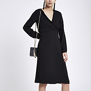 Black wrap V neck midi dress