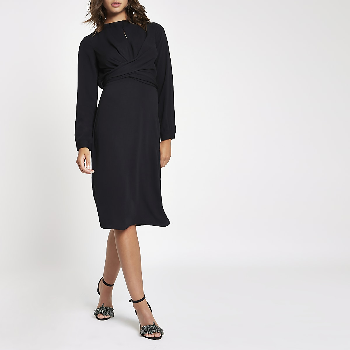 Black wrap waist midi dress