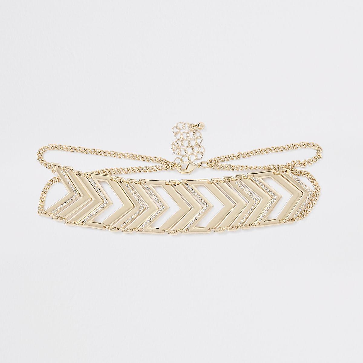 Gold tone chevron diamante pave choker